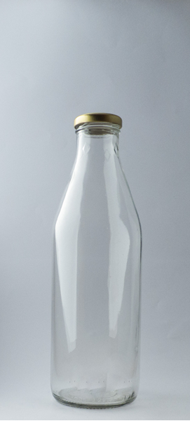 1L Glass Milk Bottle with Gold Lid
