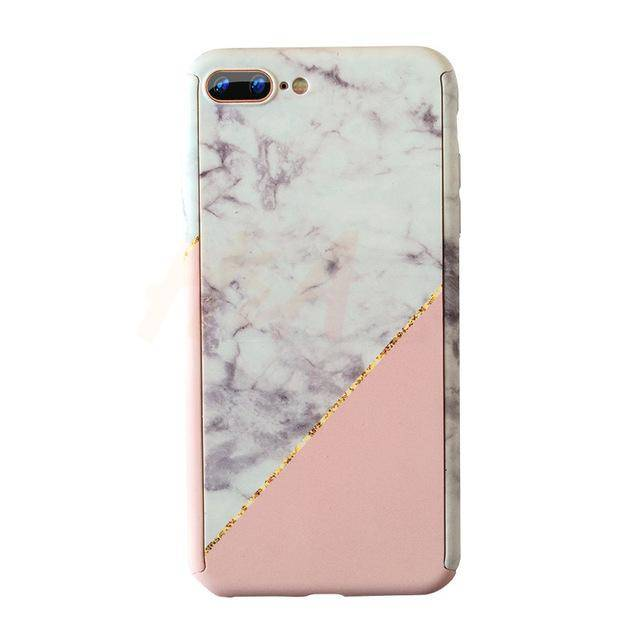 Marble Phone Case with 360° Protection (White/Pink)
