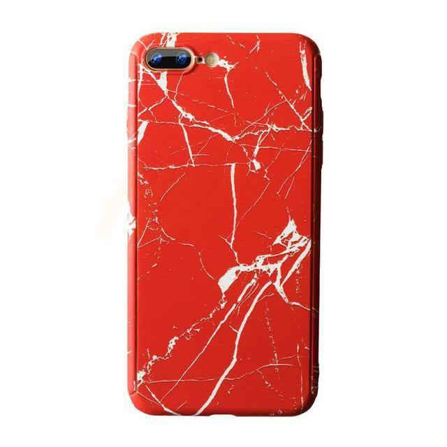 Marble Phone Case with 360° Protection (Red)