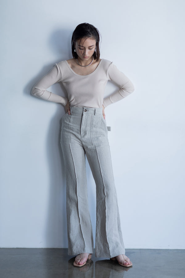 SEA LINEN PINTUCK FLARE PANTS