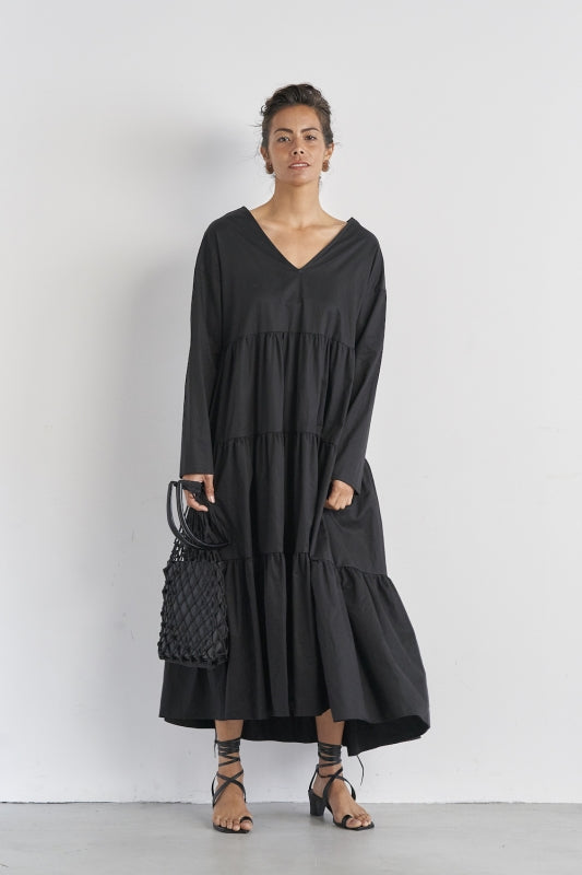 SEA Typewriter cloth Tiered Dress