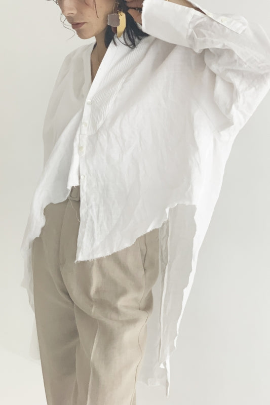 SEA Vintage Ramie Linen Canvas Asymmetry Remake Shirt Jacket