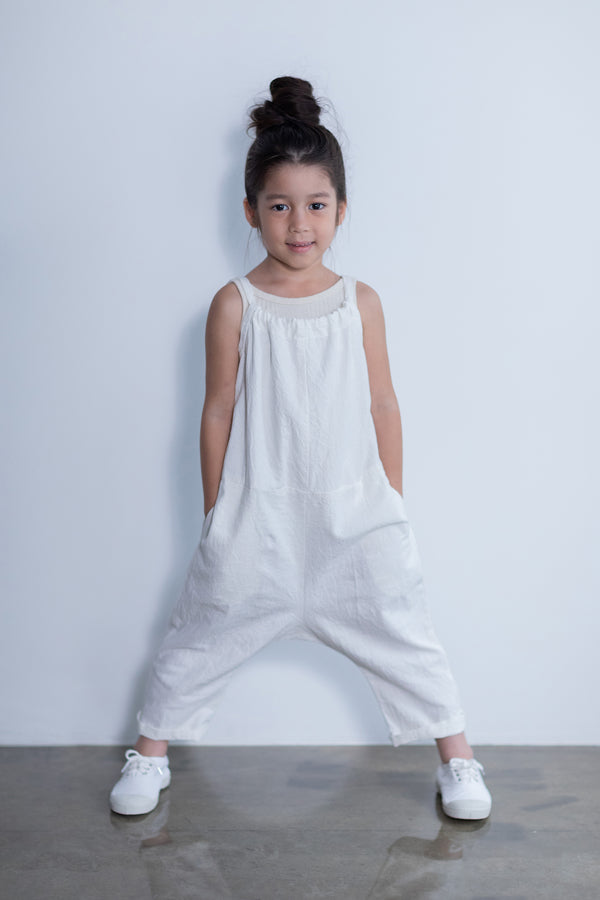 SEA CHIBI LINEN-COTTON FISHERMAN'S OVERALLS FOR KIDS