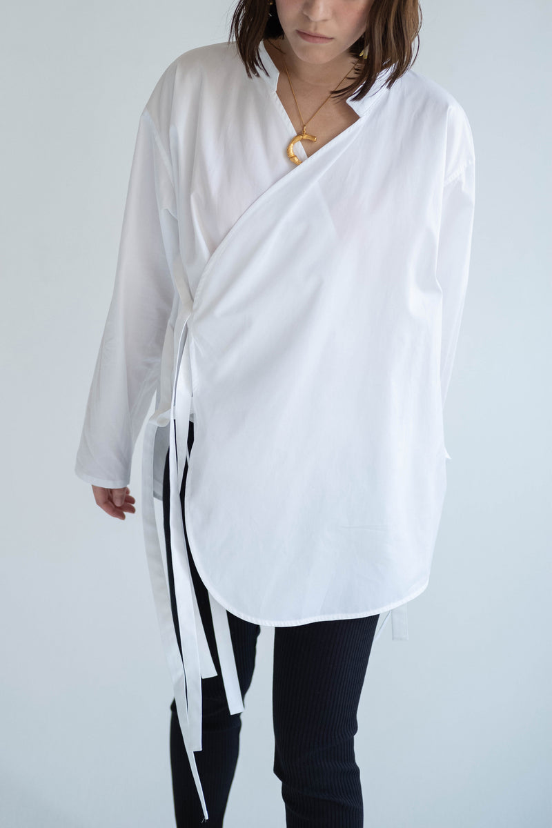 SEA Broad Cloth Wrap Shirt with a Stand-up Collar