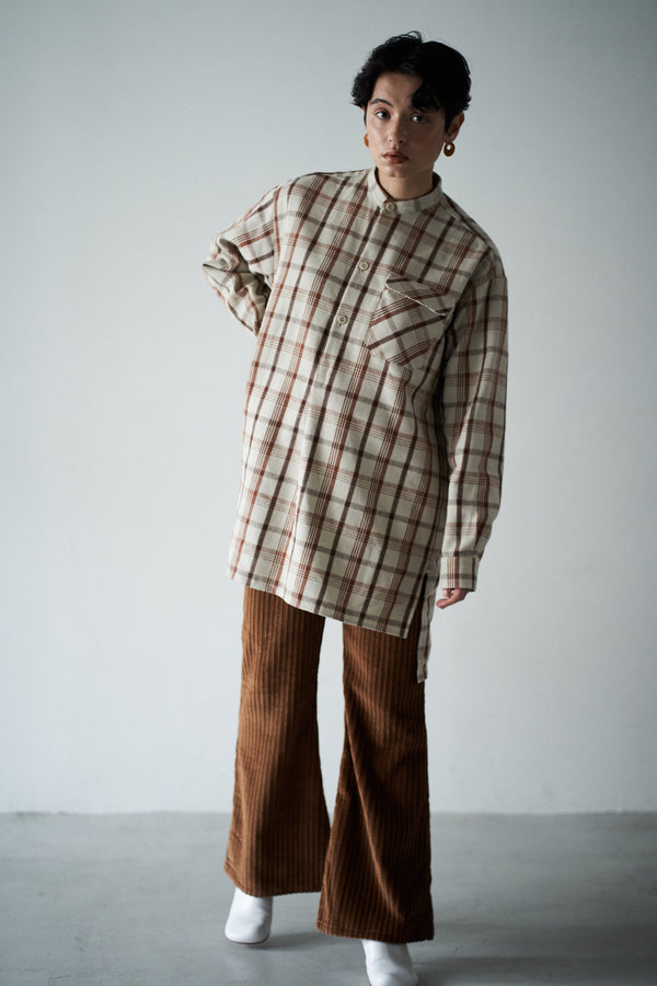 SEA VINTAGE BAND COLLOR FLANNEL SHIRTS