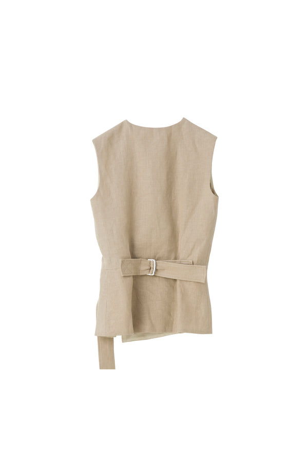 SEA Heavy Linen Sleeveless Top with Belt