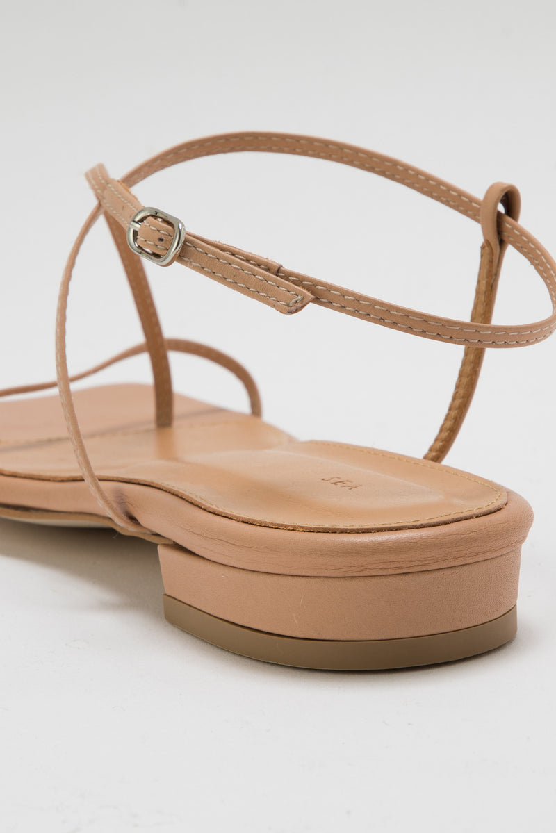 SEA LEATHER NUDE FLAT SANDALS