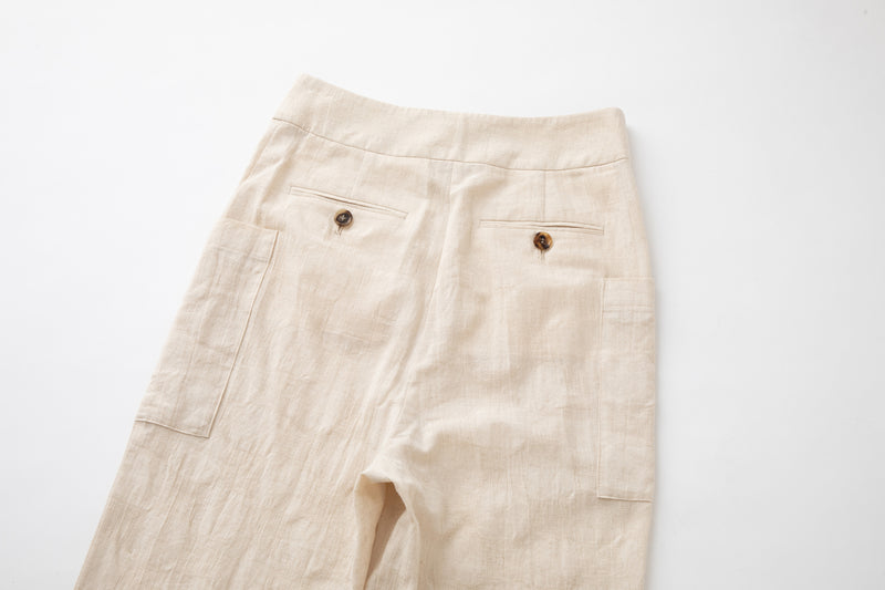 SEA COTTON LINEN BLOCK CHECK SARROUEL TROUSERS