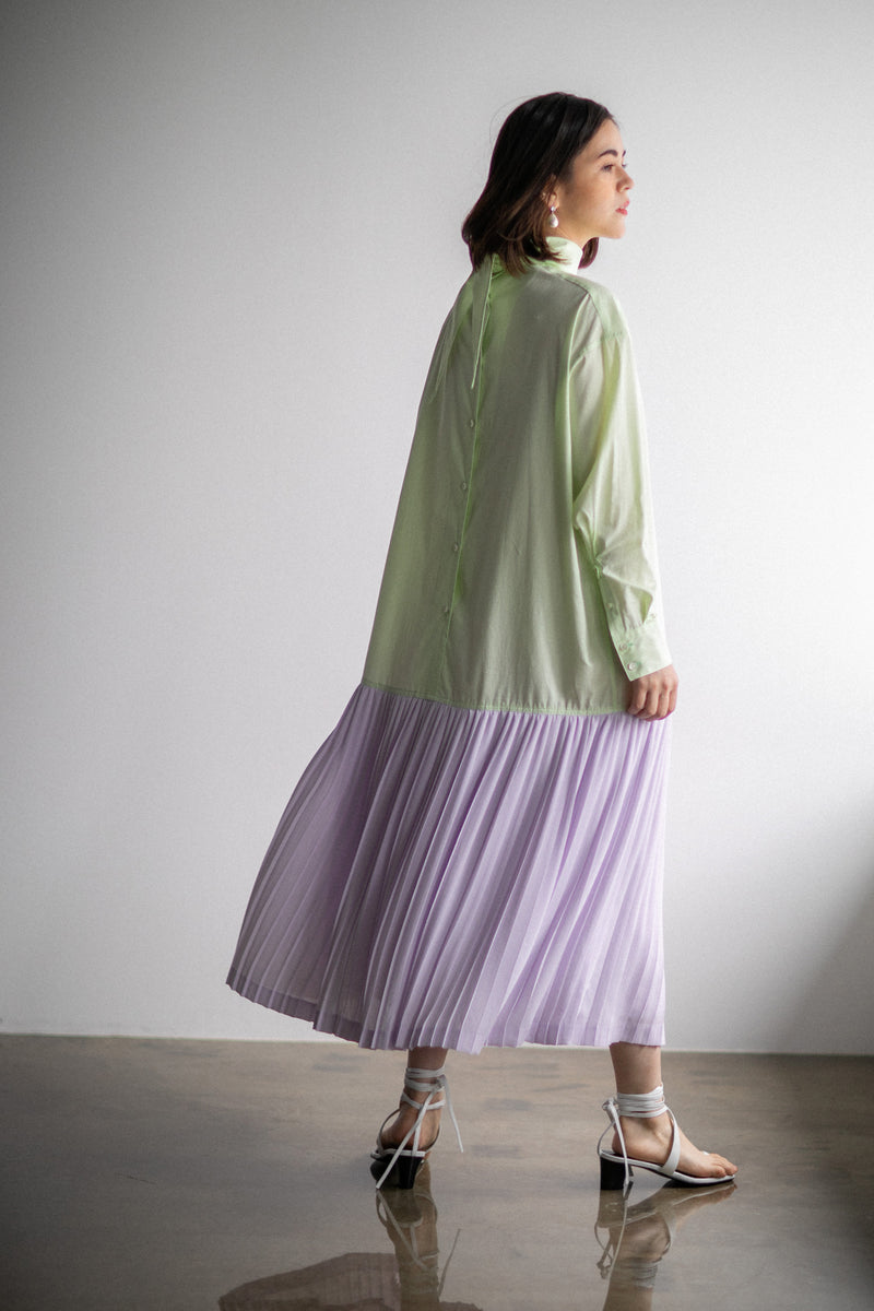 SEA 2-in-1 Pleated Shirt dress