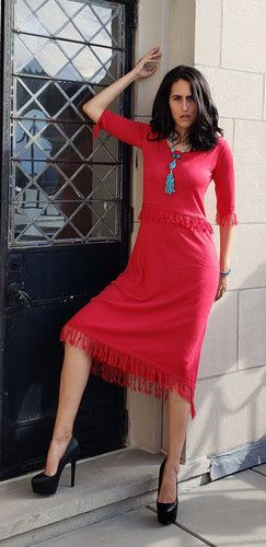 Lucky Red Cashmere Silk Fringe Dress