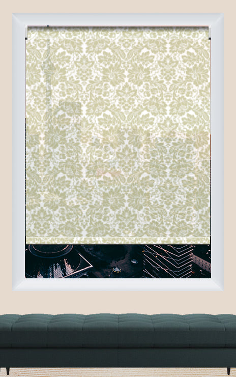 Render of Cotton Hibiscus Roller Shade
