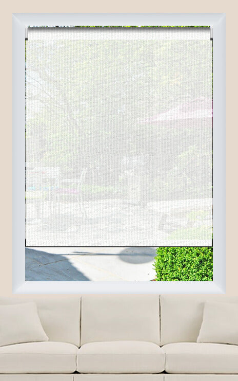 Render of Chenille White Striped Roller Shade