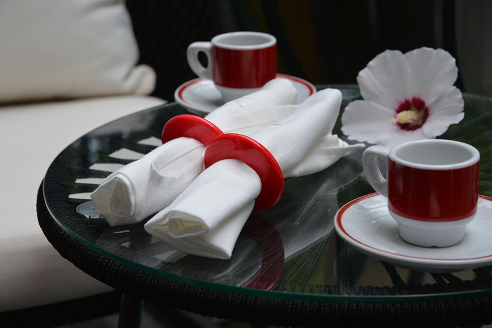 Lifestyle Photography of Volterra Vivid Napkin Rings - Porporra Red