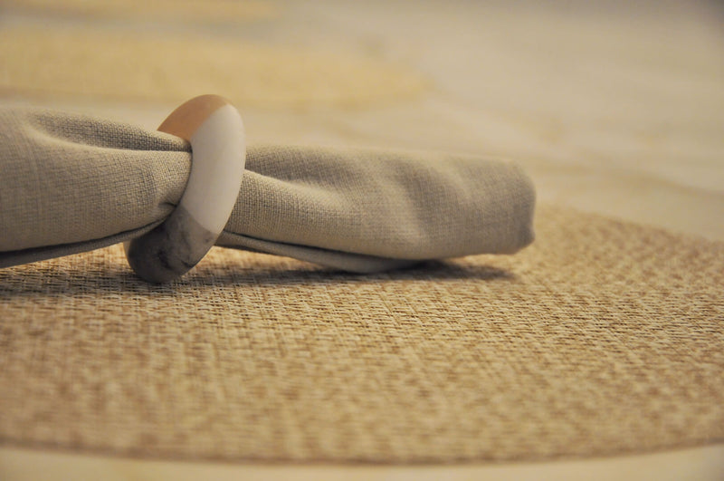 Lifestyle Photography of Volterra Neutral Napkin Rings