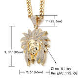 Indian Chief Head Pendant Iced Out  Necklace With Cuban Link Chain