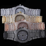 patek philippe style Iced Out Diamond Watch Quartz Gold HIP HOP Watches With Micro-pave CZ Stainless Steel Watch
