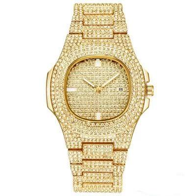 patek philippe  style  Iced Out Diamond Watch Quartz Gold HIP HOP Watches With Micropave CZ Stainless Steel Watch