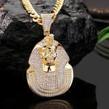 Huge Pharaoh Head Iced Out Pendant With Cuban Link Chain Necklace