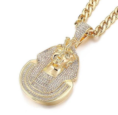 Huge Pharaoh Head Iced Out Pendant With Cuban Link Chain Hip Hop Necklace