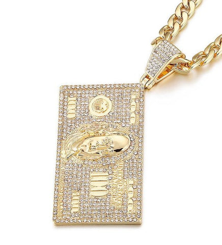 Iced Out Hundred Dollar Bill Franklin Head Pendant Necklace