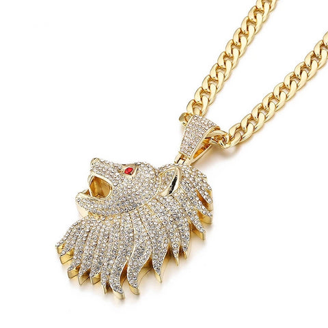 Large Lion Head Pendant Iced Out Necklace With Chain For Men