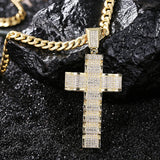 Wave-Shaped Large Cross Pendant Iced Out Necklace