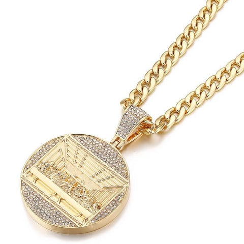 Large Jesus Last Supper Iced Out Gold Pendant Necklace