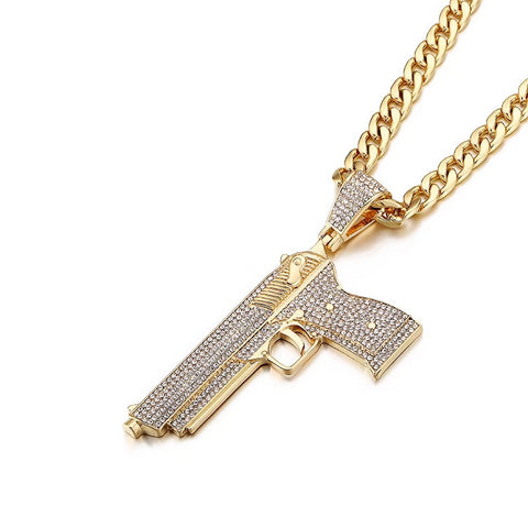 Iced Out Pistol Gun Necklace Pendant With Cuban Link Chain For Men