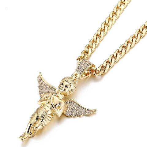 Praying Wings Angel Pendant Iced Out Necklace