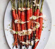 Load image into Gallery viewer, Roasted carrots sprinkled with Thank Fall Mutha Dukkah, a crunchy seasoning made with walnuts, roasted nuts, seeds, superfoods like coconut and cinnamon. A convenient vegan, gluten-free, seasoning mix sprinkled on sweet or savory dishes.