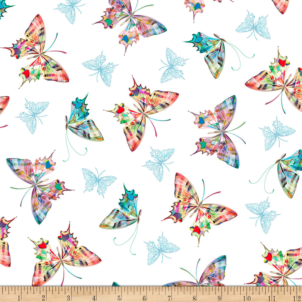 Daisy Meadow - Tossed Butterflies White | 1649-27802-Z