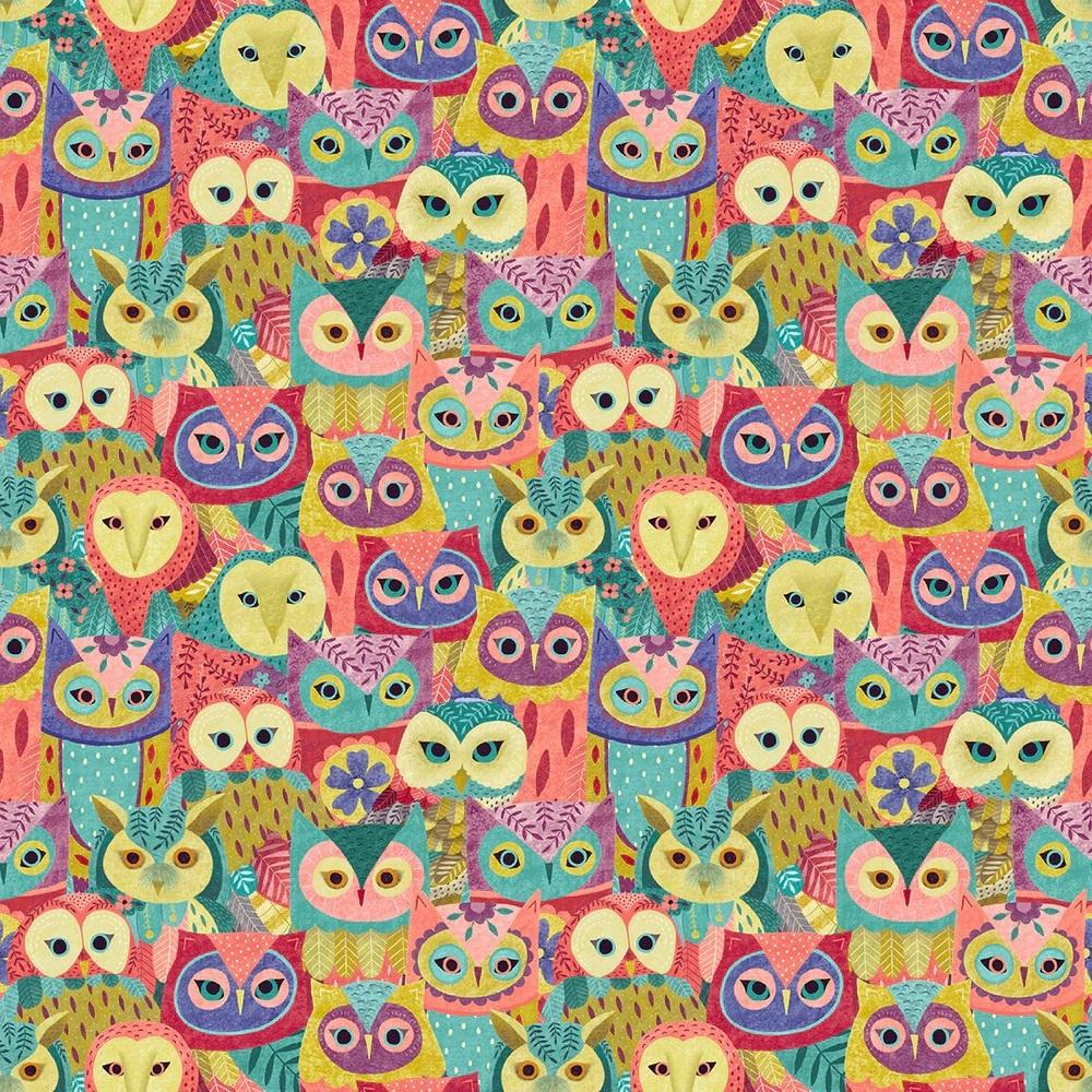 Owl Prowl - Pink Owl Collage Digital | 1134-22