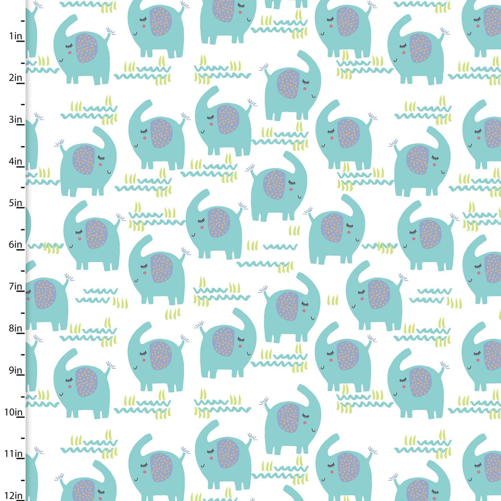 Playful Cuties - Elephants White Flannel | 13870-WHITE