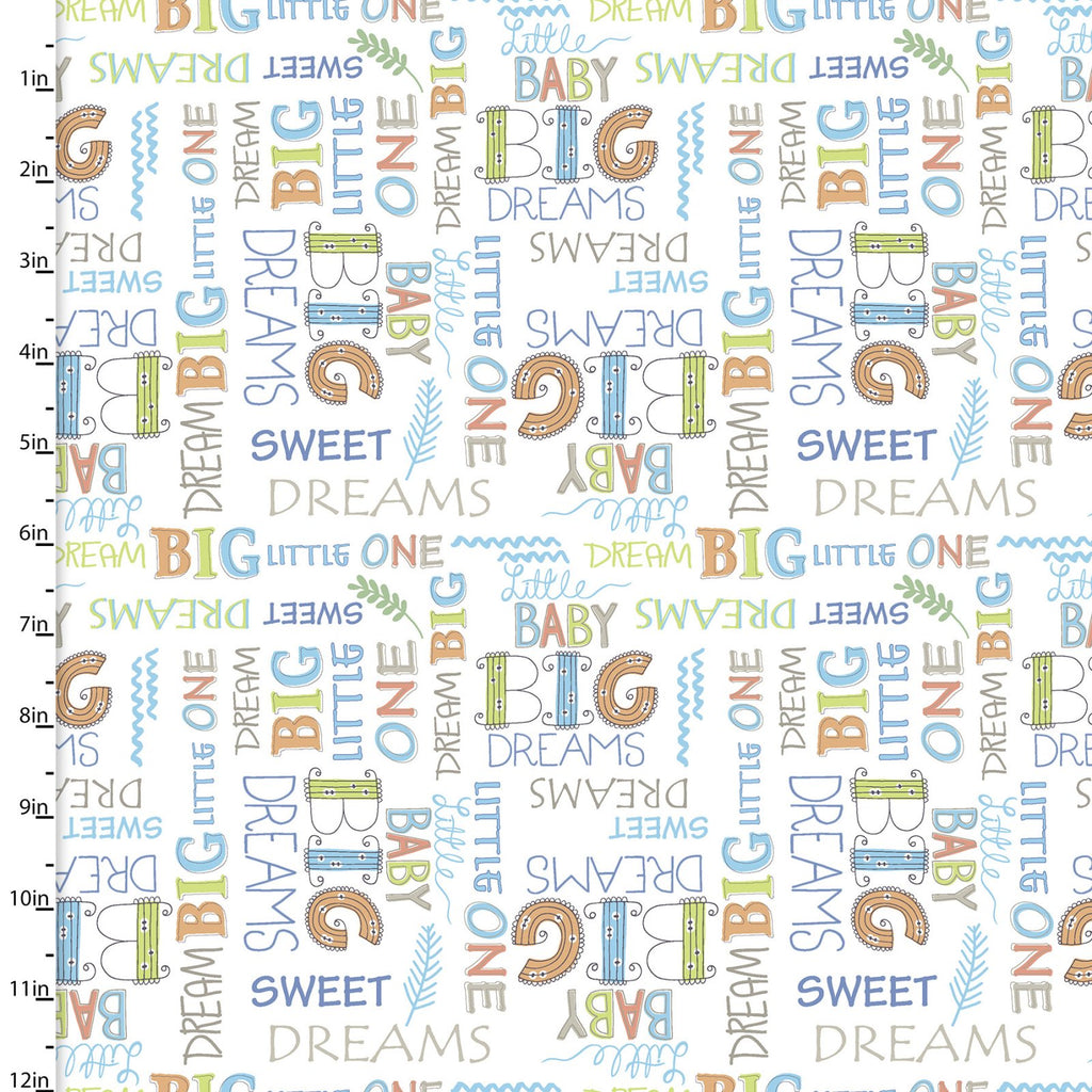 Playful Cuties - Dream Big Words Flannel | 13871-WHITE