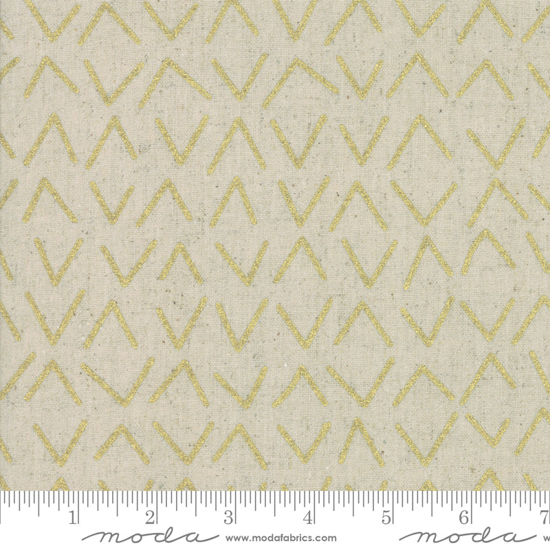 Chill Mochi Linen - Bird Prints Tan & Gold Metallic | 1719-13LM