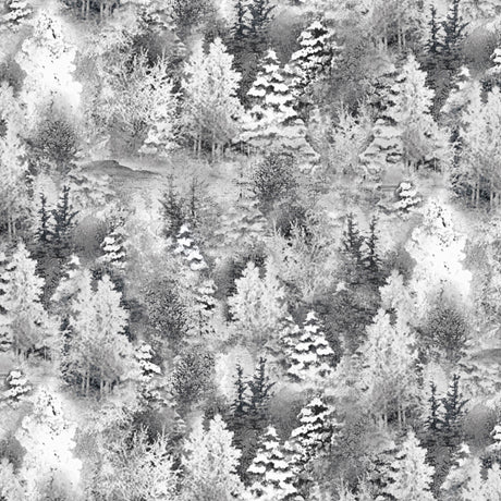 Back Home For Holidays - Tonal Pine Trees White/Gray | 1649-27700-ZK
