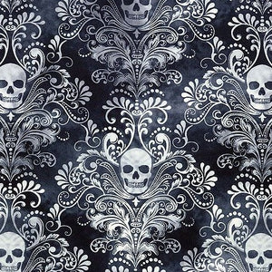 Wicked - Skull Damask Negative Charcoal | C3759