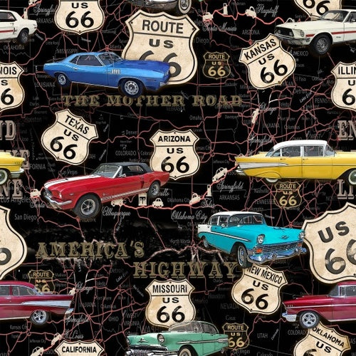 American Dream - Cars on Map Black | 8736-99
