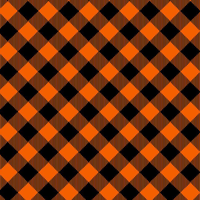 Priscilla's Pretty Plaids - Bias Buffalo Check Orange/Black | 9300-39