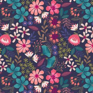 Hummingbird - Summer Floral Dark Blue  | A430.3