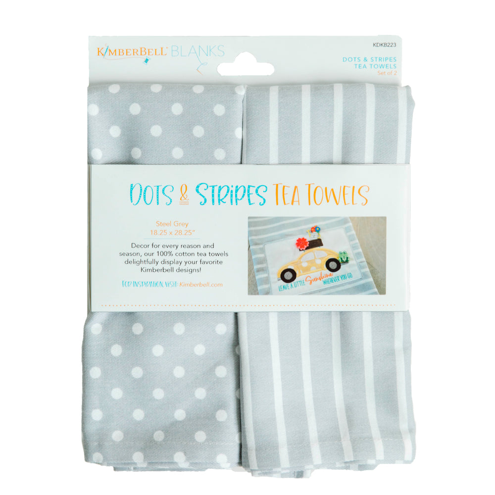 Kimberbell Designs | Dots & Stripes Tea Towel - Steel Grey, Set of 2