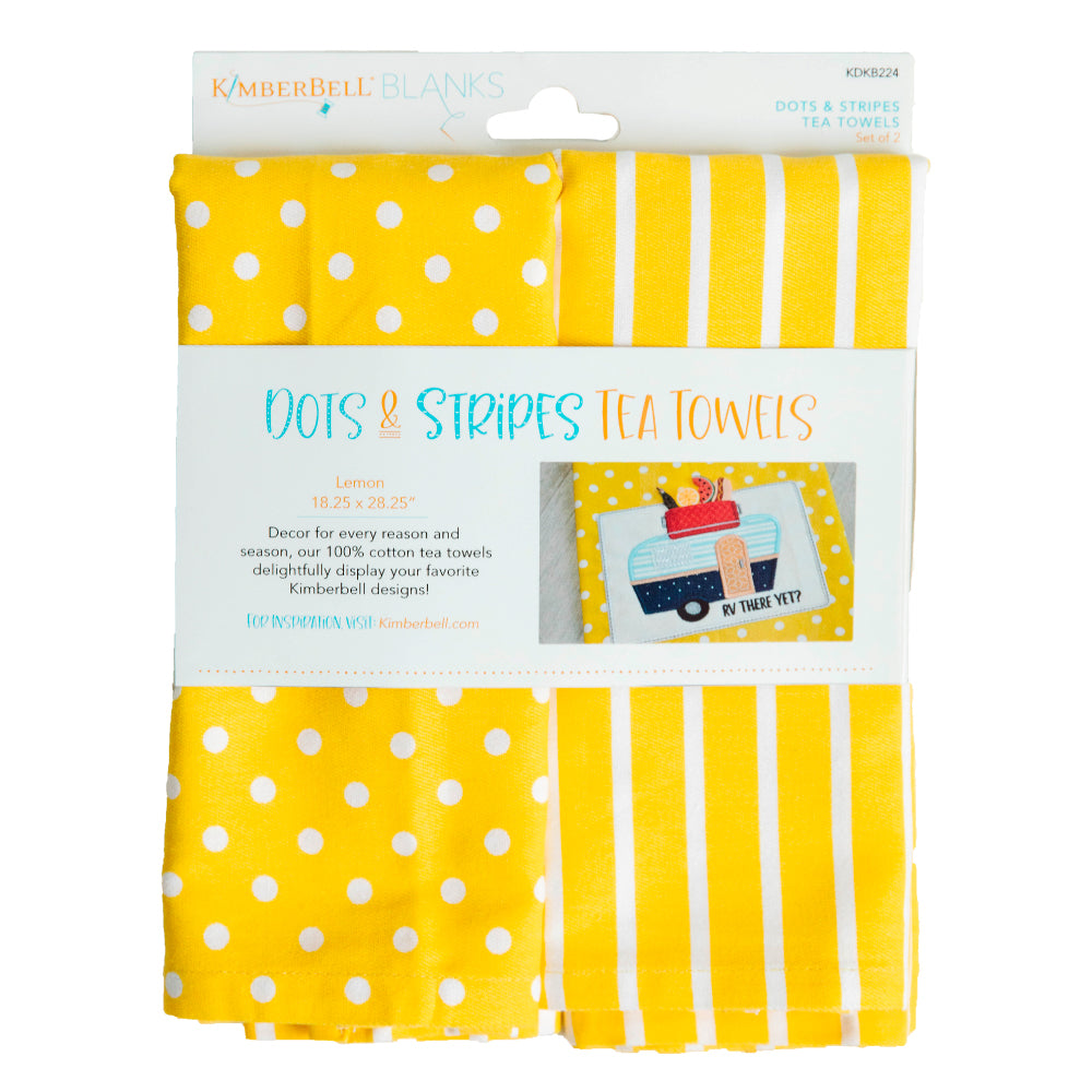 Kimberbell Designs | Dots & Stripes Tea Towel - Lemon set of 2