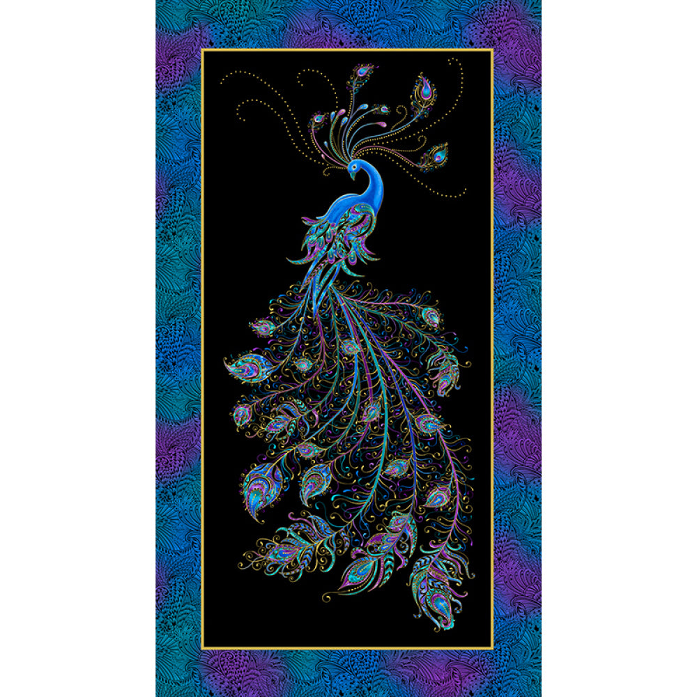 Peacock Flourish - Flourish Panel Black/Multi Metallic | 10224M-12