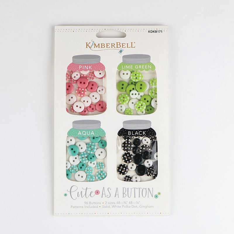 Kimberbell Designs | Cute as a Button - Pink, Lime Green, Aqua, Black