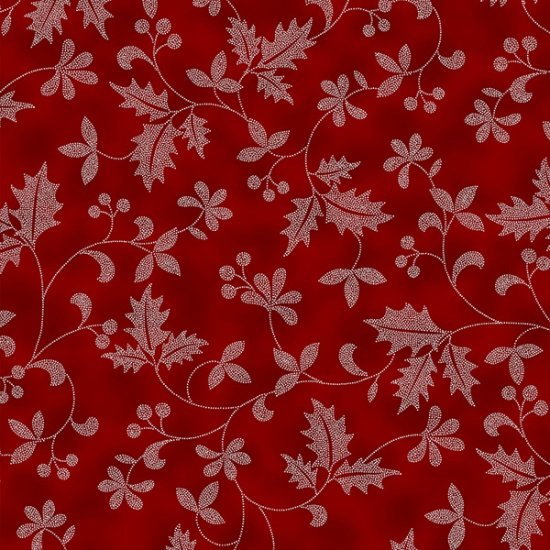 Poised Poinsettia - Holly Leaves Garnet/Silver Metallic | R7671-231-S