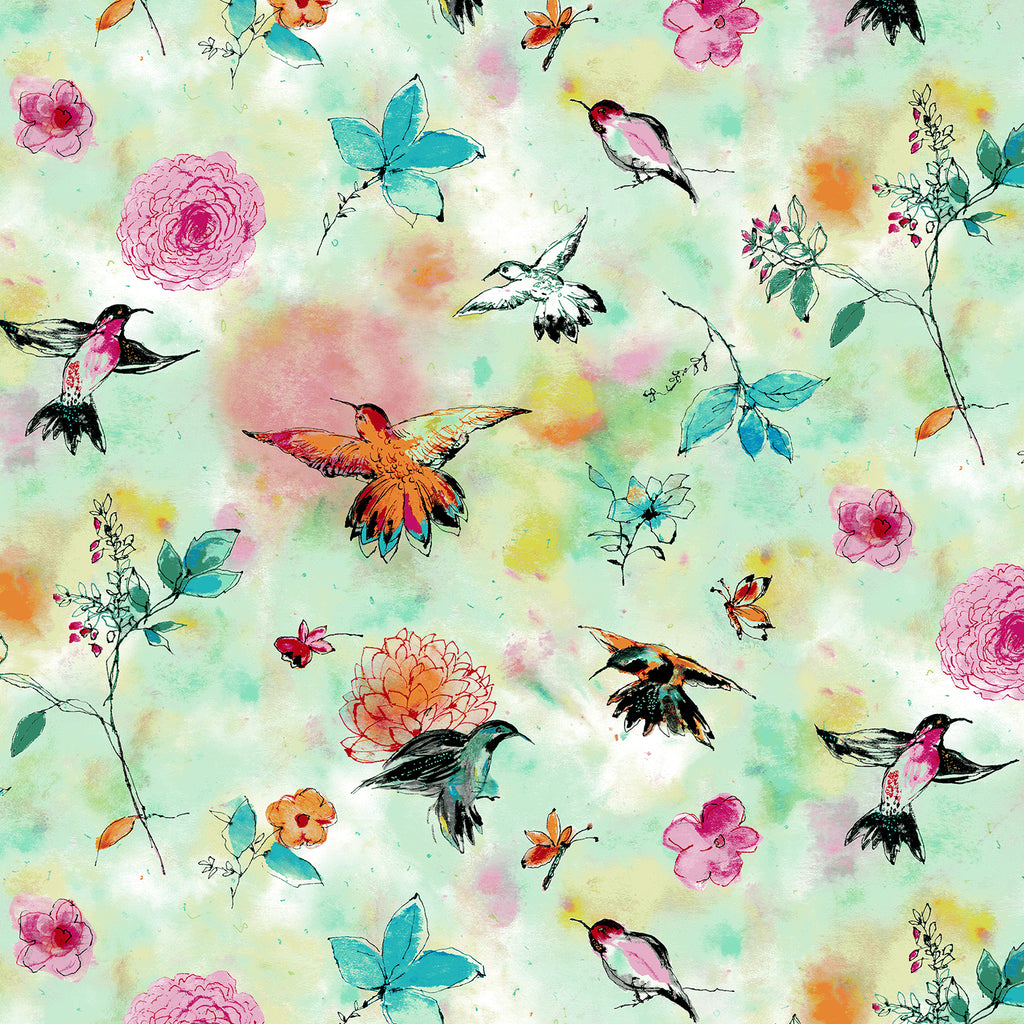 Bloom Bloom Butterfly - Hummingbird Flight Seafoam | RJ1201-SE1