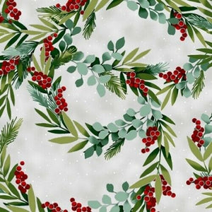 Winter Blooms - Holly Wreath Frost/Silver | R7675-113-S