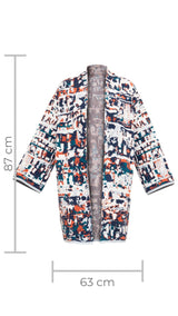 Cotton Kaftan for Woman with Patterns - Es Cubells Short - ZALIVAKO
