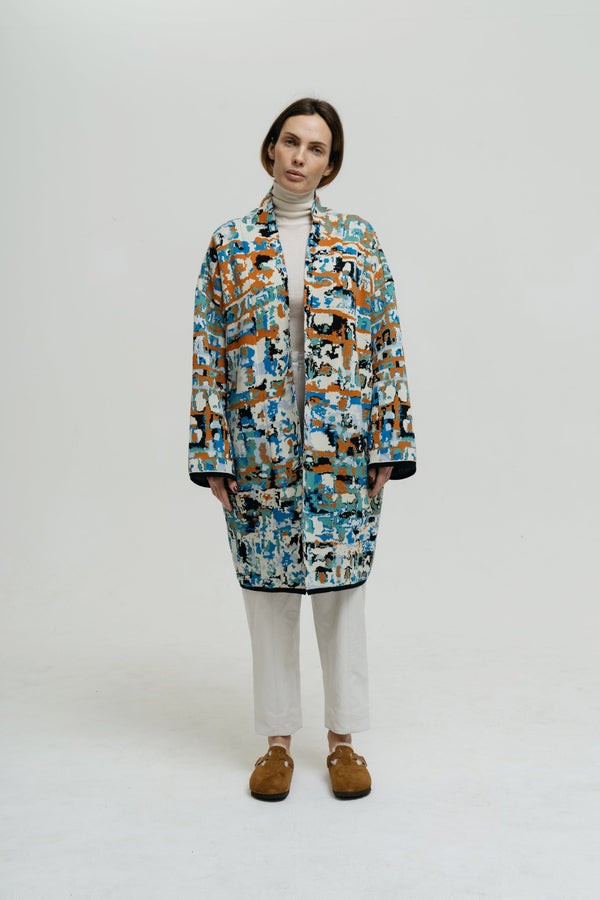 Cotton Kaftan for Woman with Patterns - Ses Roques Short - ZALIVAKO