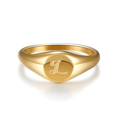 Stylish Gold Script Signet Ring
